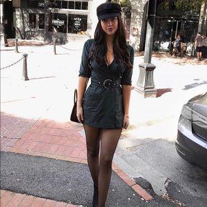 Zara suede green belted romper playsuit